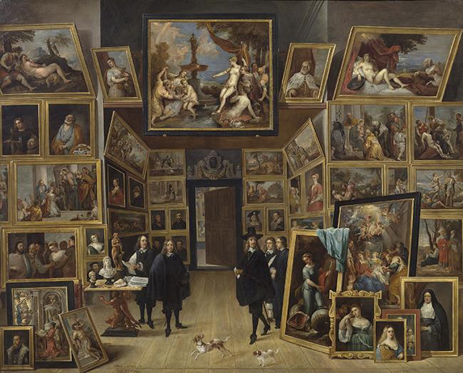 """""""El archiduque Leopoldo Guillermo en su galería de pinturas en Bruselas"""" David Teniers"""