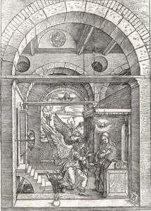 Albrecht Dürer, L'Anunciació, 1504. (Gravat de la Col·lecció Gelonch Viladegut)