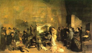 "Gustave Courbet ""El taller del pintor"" ,1855"