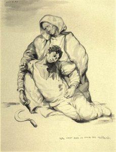 """Castelao, """"Mujer recogiendo a un fusilado"""", litografía, c. 1937"""