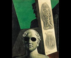 """Giorgio de Chirico, """"Portrait (prémonitoire) de Guillaume Apollinaire"""", huile et fusain sur toile, 1914"""