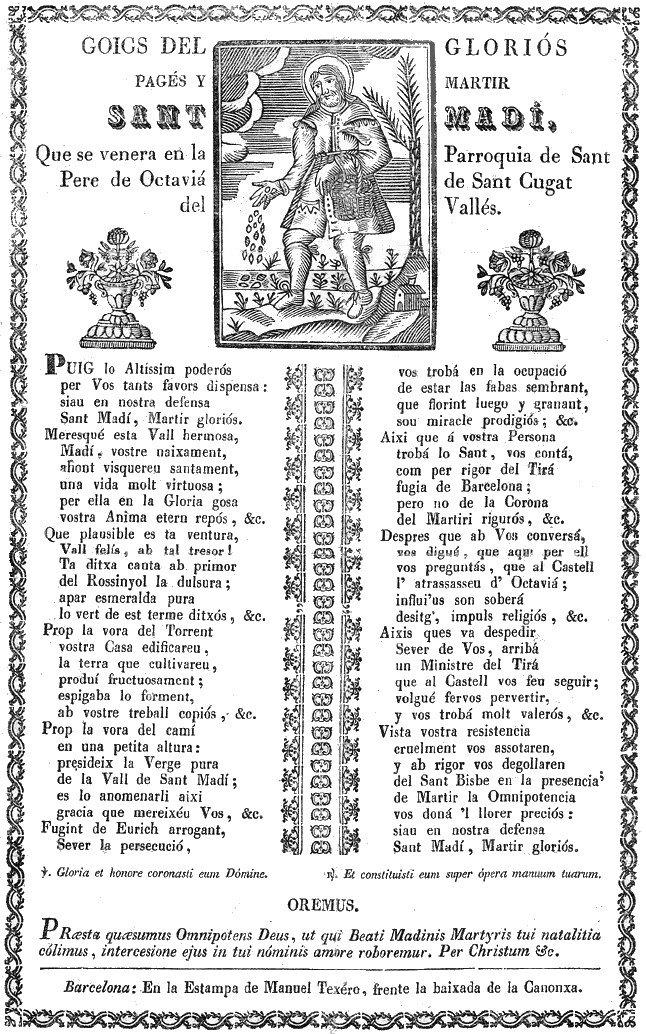 Goigs del gloriós pagès i màrtir Sant Medir